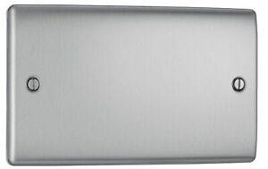 BG Nexus NBS95 Blank Plate 2 Gang Double (Brushed Steel)