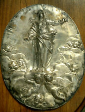 More details for antique french ecclesiastical virgin mary silver over copper wall plaque 14