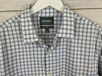 Bonobos Mens Tailored Slim Fit Plaid Dress Shirt Size Large Short Blue White