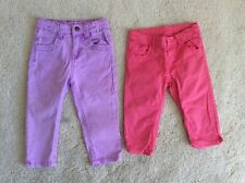 Two Pairs Of Age 3-4 Years Summer Cropped Jeans Purple Coral Mothercare