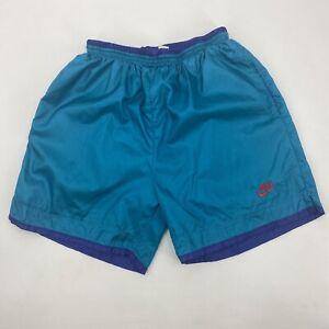 Vintage 80s NIKE Nylon Athletic Soccer Shorts Basketball Mens XL Grey Tag Swoosh