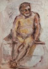 Vintage expressionist watercolor painting nude portrait