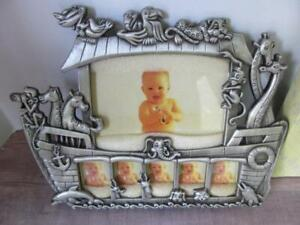 Noah's Ark Pewter Baby Frame 7 Openings NO BOX Nautical Theme