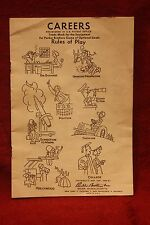 Vintage 1958 Parker Brothers Careers Gaming Instructions