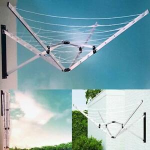 5 Arm 26m Folding Wall Mounted Clothes Dryer Airer Washing Line Outdoor Garden