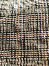"Vintage Wool Blend Houndstooth Fabric 2Yards Tan/ Blue/Maroon Plaid Color 62"" W"
