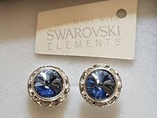 Genuine Swarovski Elements Light Sapphire Crystal Stud Earrings 13mm Gift Bag