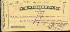 USED BANK CHECK C.B.RICHARD &CO. 1926 CZECHOSLOVAK REVENUE STAMP