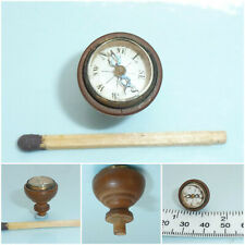 Antique miniature Compass Steel Needle carved Treen Wood cup Finial