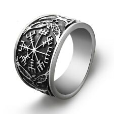Viking Ring Vegvisir Raven Rune Compass Norse Nordic Round Ring Antique Silver