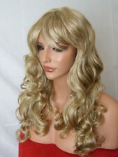 Blonde Hair Fashion long natural look full head wavy curly Ladies adult Wig B20