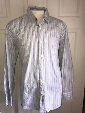 Tallia Mens Designer Blue Stripes Casual Shirt XXL 2XL 18 ½ Long Sleeve (M-272)