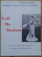 Call Me Madam programme Harrow Light Opera Company A.B.C Theatre November 1963
