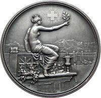 1895 SWITZERLAND Swiss SHOOTING FESTIVAL Winterthur Genuine Silver Medal i80337