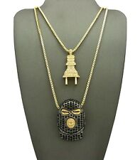 ICED OUT ELECTRIC POWER PLUG &GOON MASK PENDANT &BOX CHAINS NECKLACE SET RC1990G