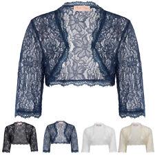 Womens Cropped Lace Shrug Ladies Bolero Plus Size Cardigan Top Wedding Bridal