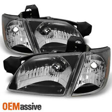 Fit 97-05 Chevy Venture Silhouette Montana Black Headlights W/ Corner Lamps 4pc