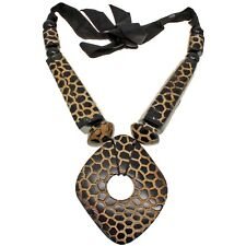 Natural buffalo horn tribal style brown colour huge oversized pendant necklace