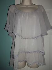 NEW A. Maglia Gray Tiered Flowy Blouse - Large
