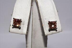 $4,000 1.61CT PRINCESS CUT PINK DIAMOND STUD EARRINGS 14K WHITE GOLD