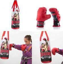 Saco de Boxeo infantil niño niña campeón 19 x 48 cm, 2 guantes, 2 asas, +3 Años
