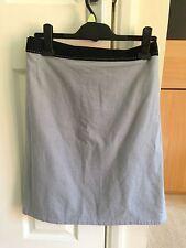 BNWT NEXT Black Grey Blue Linen Blend Knee Length Skirt Size 26