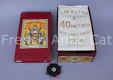 L748 Mercerie rare boite 28 cartes ROYALE fil lin 30 F. F.R. ALOST noir belgique