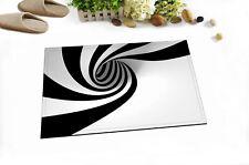 Black White Swirl Abstract Home Floor Door Mat Bedroom Bath Carpet Non-slip Rug