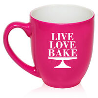 16 oz Bistro Mug Ceramic Coffee Glass Tea Cup Live Love Bake