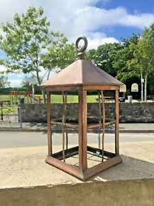 ANTIQUE ART NOUVEAU / ARTS & CRAFTS COPPER PORCH LANTERN HALL LIGHT NO GLASS