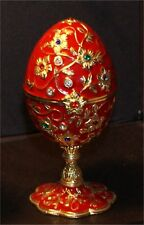 Jeweled Enameled Collectible Replica Red Egg Jewelry Well Ring Box