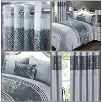 Grey Silver Charcoal Charleston Sparkle Glitter Sequins Duvet Cover Set Bedding