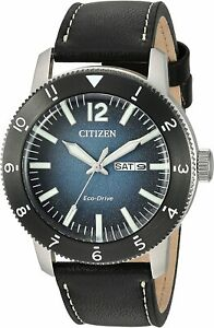 NEW Citizen Eco-Drive Men's Brycen AW0078-08L Blue Dial Leather Strap Watch