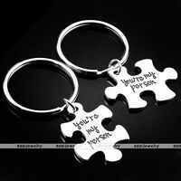 2pcs Fashion Silvery Metal Puzzle You're My Person Keychain Lover Keyrings SetAY