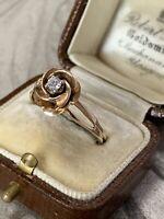 Vintage 14K Yellow Gold Diamond Rosebud Flower Ring, UK M 1/2