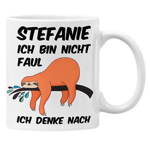 Faultier Tasse mit Namen und Spruch: Ich bin nicht faul, ich denke nach Geschenk