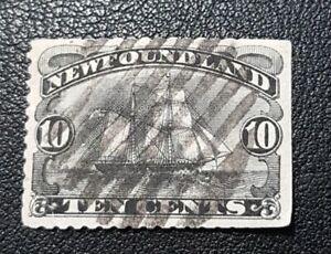 Newfoundland Scott # 59 used, XF, top straight edge, see full description