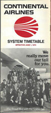 Continental Airlines system timetable 6/1/74 [8102]