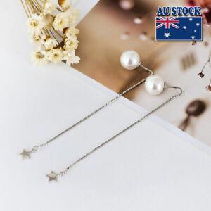 Genuine 925 Sterling Silver 10mm Pearl Drop Star Dangle Pretty Threader Earrings