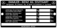 Motorraumschild Typenschild  Schild Mercedes Benz neu.  Data plate ID Vin FIN