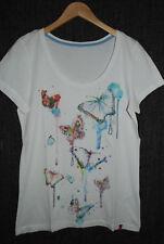 ESPRIT   süßes Shirt Kurzarmshirt   Longshirt   figurnah   weiß  40 42 M L