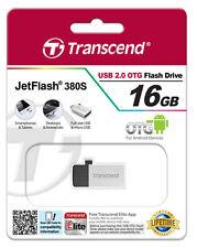 MINI CLE MICRO USB + USB 16GO OTG TRANSCEND ARGENT clef ordi tablette smartphone