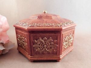 Covered Box 6 Sided Crown Top Mirrored Jewelry Case Ornate Faux Myrtlewood 1970s