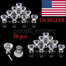 20Pcs Diamond Shape Crystal Glass Cabinet Knob Cupboard Drawer Pull Handle 30mm