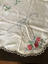 Vintage Estate Large Hand Embroidered Square Table Cloth With Roses In Baskets
