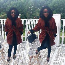 Designer Yves Saint Laurent Rust brown hooded Suede, Shearling fur Jacket Coat M