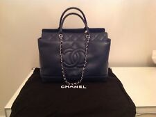 AUTHENTIC CHANEL BAG LARGE SHOPPING RARE NAVY BLUE LEATHER 93926