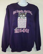 Vintage 90s Womens Small Purple Glitter Sparkle Cat With Bingo Card Sweatshirt