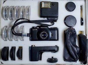 Camera, Asahi Pentax auto 110 SLR kit with lenses/flash/winder/filters