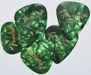 5  x  Fender Guitar Picks Green 351  Thin, Medium,  Heavy